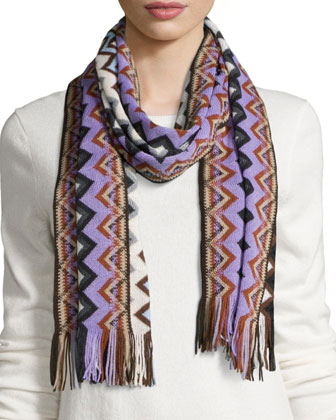 Chevron Knit Scarf W/ Fringe, Black