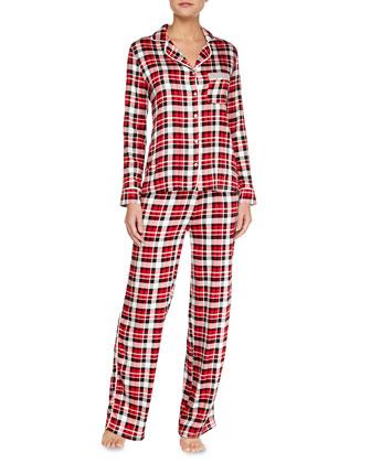 Menswear Piped Jersey Pajama Set, Red Plaid