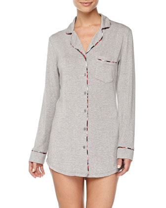 Plaid-Piped Menswear Sleepshirt, Heather Gray