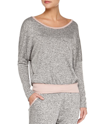 Ramona French Terry Slouchy Tee & Slim Pants, Peppercorn/Rose