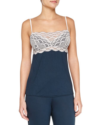 Mabel Scalloped Lace Combo Camisole, Sugar/Petrol