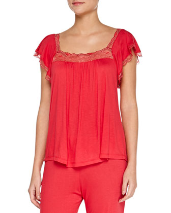 Cassandra Flutter-Sleeve Lounge Top & Slim Pants, Red Passion