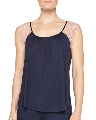 Emilia Lace-Sleeve Jersey Cami, Midnight/Rose