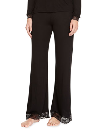 Cecilia Long-Sleeve Lace-Trim Lounge Tee & Pants, Black