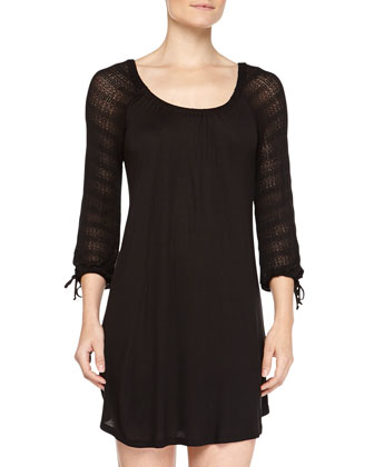 Rosette Crochet-Contrast Sleep Tunic, Black
