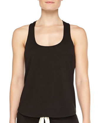Heather Slub Racerback Lounge Tank, Black