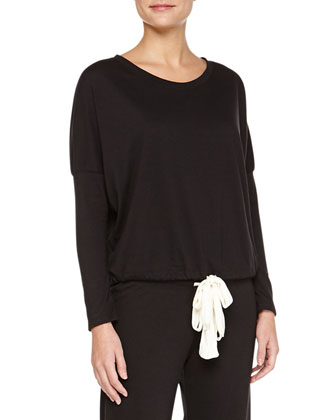 Heather Slouchy Lounge Tee, Black