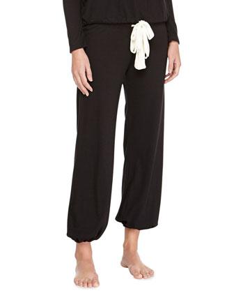 Heather Drawstring Cropped Lounge Pants, Black