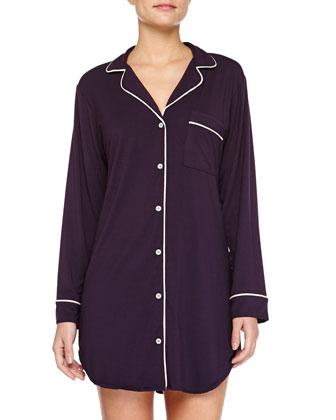 Gisele Jersey Sleepshirt, Eggplant/Sorbet