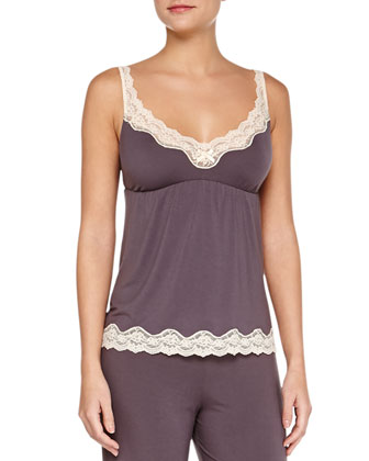Lady Godiva Lace-Trim Lounge Camisole, Pebble/Beige