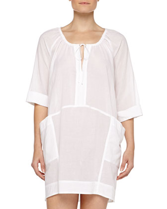 Tie-Front Cotton Batiste Sleepshirt, White