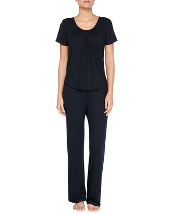 Essential Luxuries Modal Jersey Pajama Set, Navy