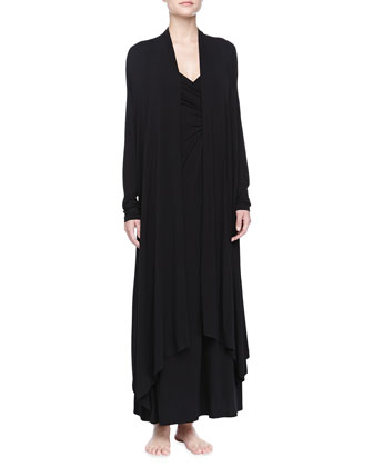 Liquid Jersey Wrap Robe, Black