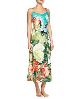 Birds of Paradise Long Satin Gown, Freshwater