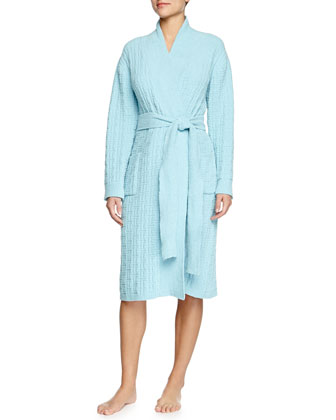 Truffle Knit-Chenille Wrap Robe, Light Caribe Blue
