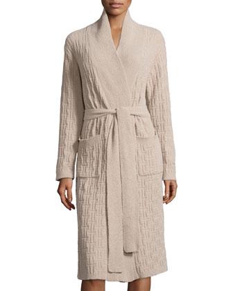 Truffle Knit-Chenille Wrap Robe, Oatmeal