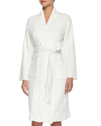 Truffle Knit-Chenille Wrap Robe, Winter White