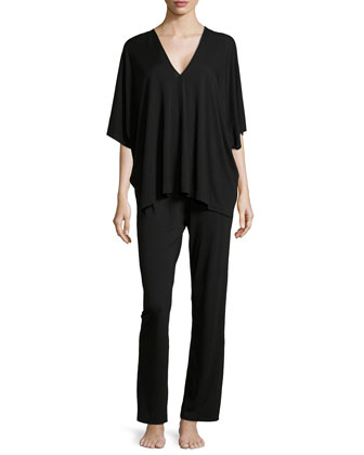Shangri La Two-Piece Tunic Pajama Set, Black