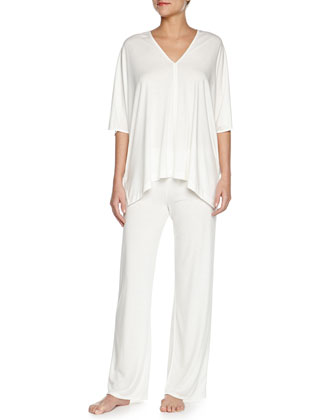 Shangri La Two-Piece Tunic Pajama Set, Ivory