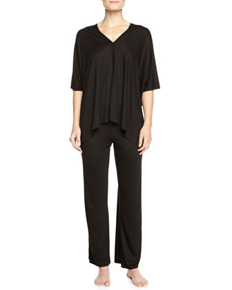 Shangri La Two-Piece Tunic Pajama Set, Black, Women's
