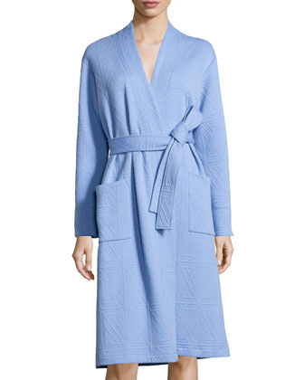 Long-Sleeve Jacquard Robe, Surf Blue