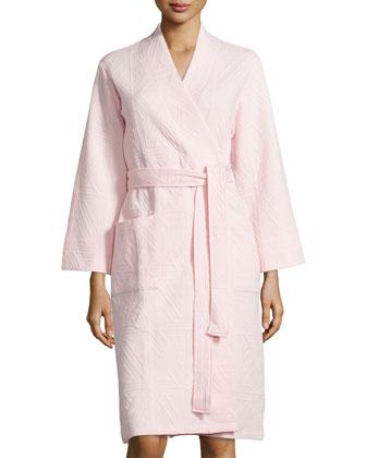 Long-Sleeve Jacquard Robe, Blush Pink