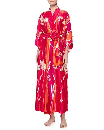 Aphrodite Charmeuse Gown & Isabella Floral-Print Robe