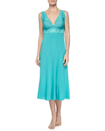 Zen Floral Long Lace Tank Jersey Gown, Blue Jewel