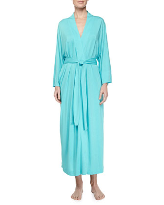Zen Floral Long Lace Jersey Gown & Robe, Blue Jewel