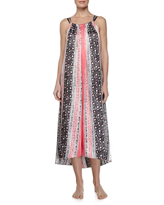 Balinese Vine-Print Charmeuse Gown, Black/Pink/Multicolor