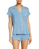 Gisele Boxer-Short Jersey Pajama Set, Navy/Ivory