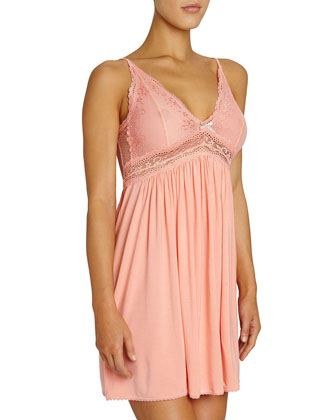 Colette Lace-Top Chemise, Pink Clay