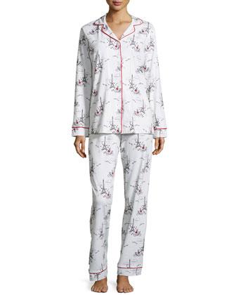 Girl-On-Bike Classic Pajama Set, Cream/Multi