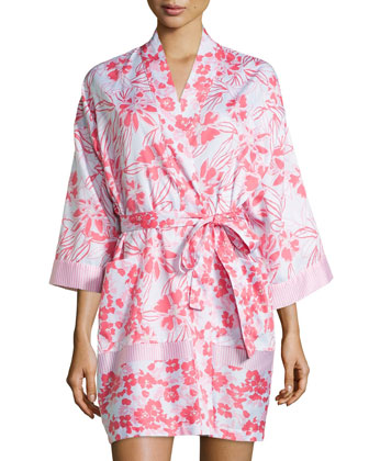 Tiger Lily-Print Short Robe, Pink