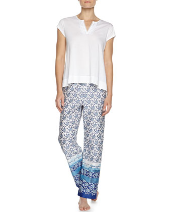 Short-Sleeve Two-Piece Pajama Set, White/Blue