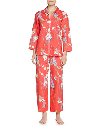 Sakura Two-Piece Floral-Print Pajama Set, Red-Orange