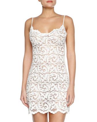 Boudoir Sheer Lace Chemise, Ivory