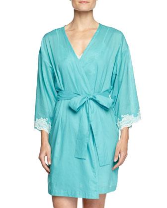 Paradise Voile Lace-Trim Wrap Robe & Chemise, Light Blue