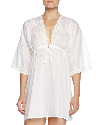 Paradise Lace-Trim Voile Sleep Shirt, White