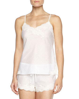 Paradise Two-Piece Voile Pajama Set, White