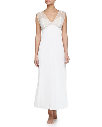 Boudoir Lace-Trim Long Chiffon Gown, Ivory