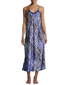 -Print Charmeuse Long Gown