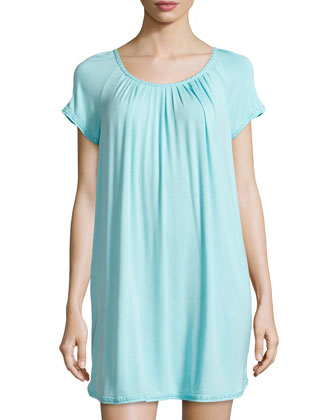 Elegance Jersey Short Nightgown, Aqua