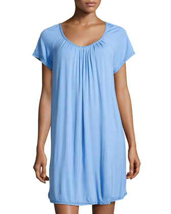 Elegance Jersey Short Nightgown, Blue