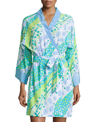 Tropical Floral-Print Short Robe