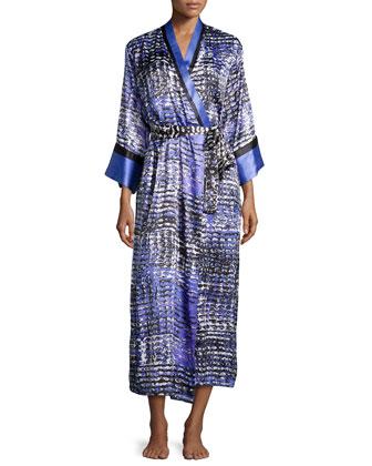 Long-Sleeve Printed Charmeuse Robe