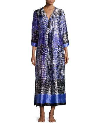 Starry Sky Print Long Caftan Gown, Purple