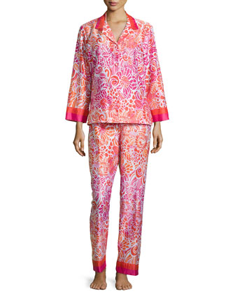 Long-Sleeve Sateen Pajama Set