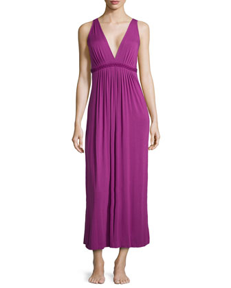 Pleated Embroidered Tank Gown, Puame