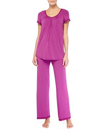 Geometric Embroidered Short-Sleeve Pajama Set, Puame